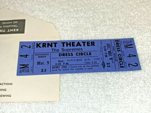 THE SUPREMES UNUSED 1969 CONCERT TICKET AND WILL CALL ENVELOPE KRNT THEATER USA