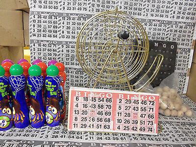 TABLETOP BRASS BINGO CAGE-WOODEN BALLS; 2000 CARDS; 12 DAUBERS!