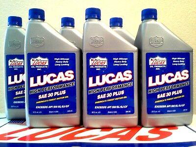 LUCAS OIL SAE 30  PLUS MOTOR OIL   # 10053  6 X 1 QUART (MADE IN USA)