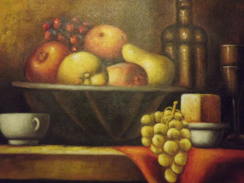 Still+Life+Fruit+Bowl+Wine+Large+Oil+Painting+Canvas+Classic+Original+Art+Food
