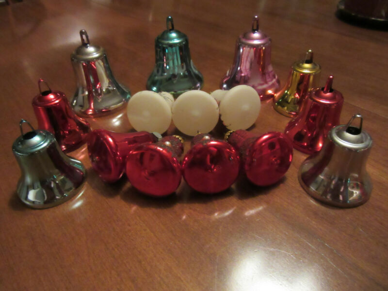13 Vintage Heavy Plastic and Glass Bell Christmas Ornaments