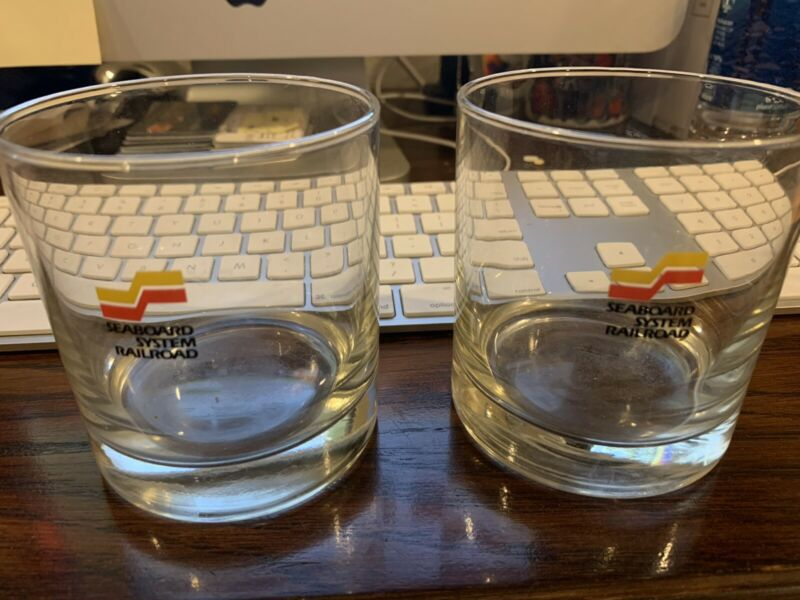 Seaboard System Railroad Drinking or High Ball Glasses (2) - Excellent Condition