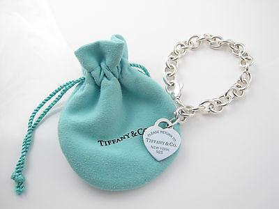 Tiffany & Co Zurück zu Tiffany Silber Blau Emaille Armband mit Herzanhänger