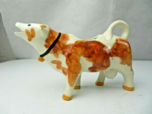 Vintage French Fine Porcelain White & Brown Cow creamer