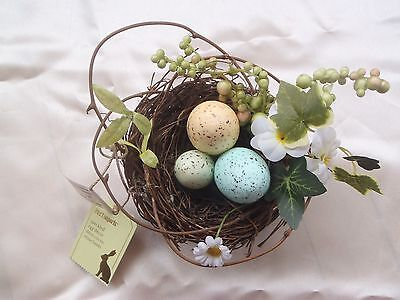 Pier 1 One Imports Easter Decor Speckled Eggs in Bird's Nest New with Tag