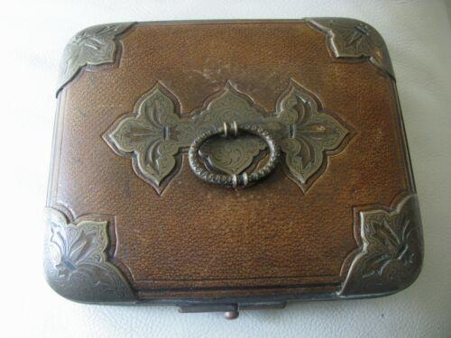 Antique Fleur De Lis Hardware Leather Jewelry Presentation Case Box Purse