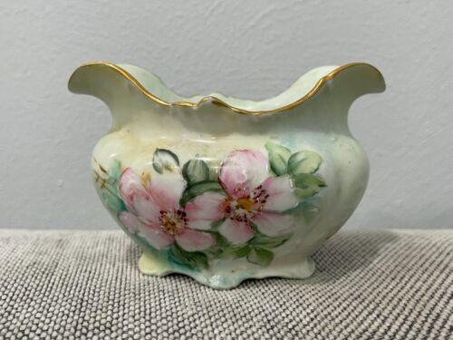 Antique Porcelain Open Sugar Dish w/ Painted Pink Flowers Decoration