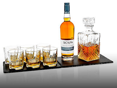 7 Glass Wine Whisky Bormioli Rocco Tumblers Whiskey Bottle Decanter Gift Box