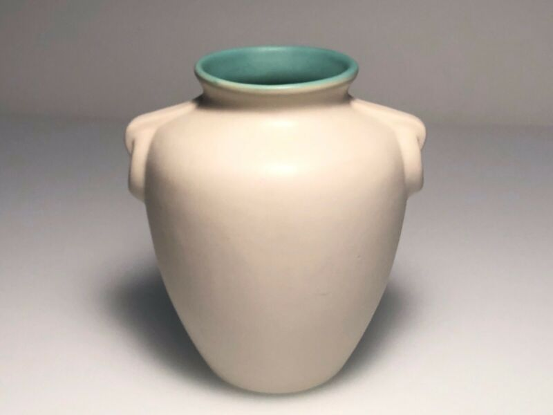 """Coors Pottery BLUE WHITE Vase Made in Colorado USA MID CENTURY OLIVE JAR 6.5"""" H"""