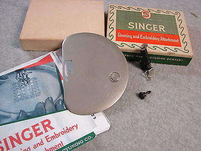 Vtg SINGER presser FOOT DARNING/EMBROIDERY + COVER PLATE, box, COPY of manual