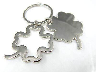 Schlüsselanhänger KLEEBLATT vierblättrig silber Schlüsselring Glücksbringer