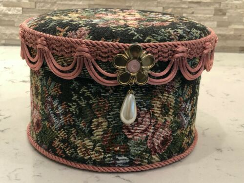 Vintage Flower Brocade Hat Box Trimmed in Pink Scallops Flower and Pearl Colored