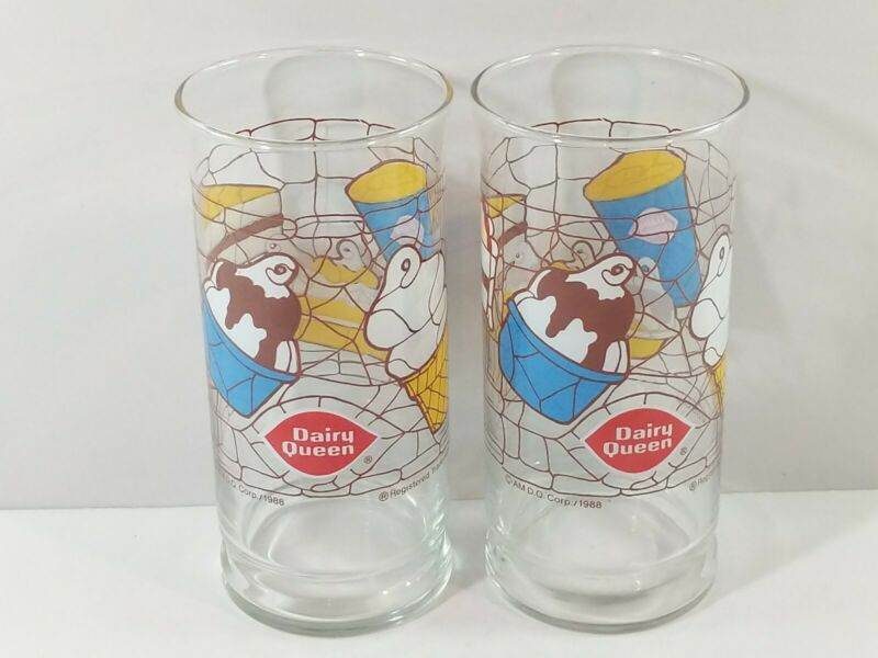 """Lot of 2 Vintage 1988 Dairy Queen Drinking Glass - 6"""" Tall"""