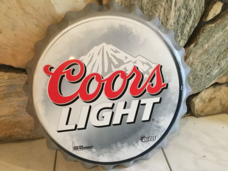 Coors Light Beer Cap Metal-Tin Sign Approx. 18""