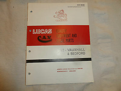 LUCAS PARTS CATALOGUE FOR 1962 VAUXHALL BEDFORD CARS & COMMERCIAL