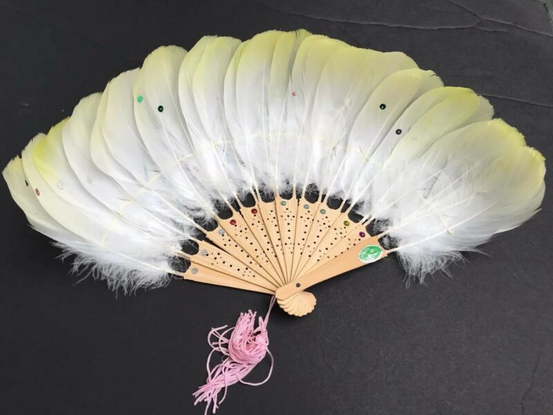 Rare Vintage Chinese Wood Folding Hand Fan With Feathers