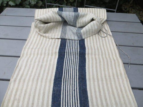 Handwoven Grain Sack Feed Sack Handwoven Linen With Stripes  19 inch by 43 inch