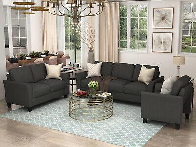 3 Piece Living Room Sofa Set Loveseat Safa Chair Armchair Home Furnitures