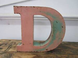 "D11086 Metal Pink Teal Green Letter ""D"" Industrial Wall Decor Unley Unley Area Preview"