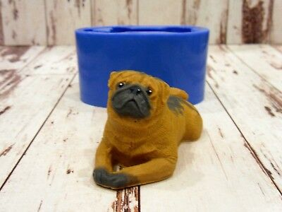 """Pug 4"" dog silicone mold for soap and candles making"