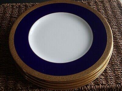 Minton Cobalt Blue Gold Encrusted Dinner & Luncheon Plates Set 8 England Cobalt Blue Luncheon Plate