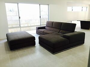 Nick Scali Modern Sofa with Chaise and Large Ottoman Craigie Joondalup Area Preview