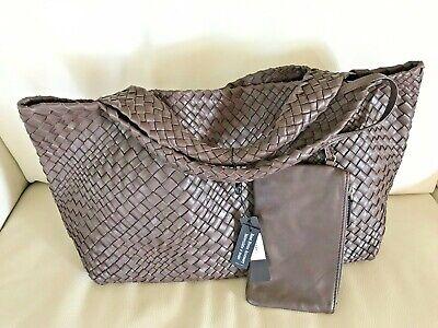 Falorni FALOR ITALY~#7349 BROWN Hand Woven Intrecciato Leather Tote~NWT (Hand Woven Brown Leather)