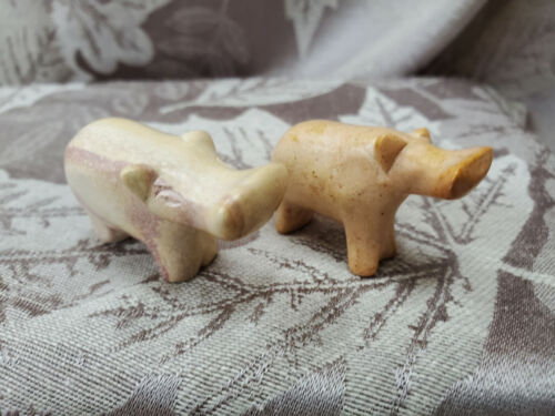 2 small Vintage Hippos Polished Stone Figurine Beautiful Color - Keep 1; Gift 1