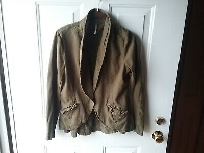 Free People Army Green Linen Blend Jacket Blazer Moto Women's XS