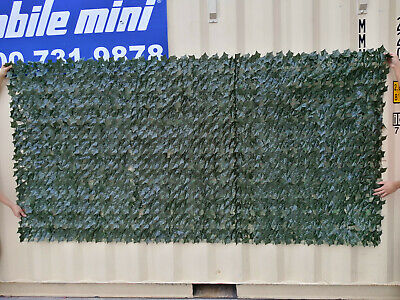 Artificial Ivy Leaf Hedge Panels On Roll Fence Privacy Screening 2m x3m Green