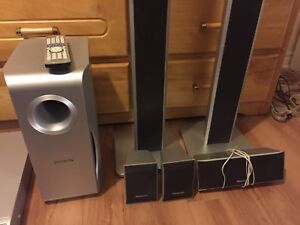 Surround sound with 5 disc DVD player
