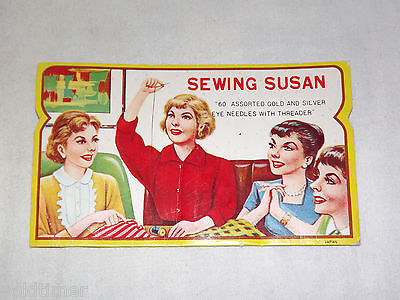 VINTAGE 1960S OLD ADVERTISING SEWING SUSAN 60 ASSORTED NEEDLES WITH THREADER