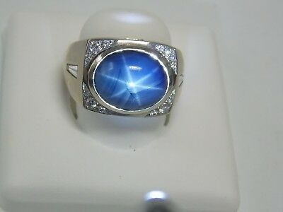 Star Sapphire & Diamonds Fashion Men's Ring on 14K White Gold by Allura
