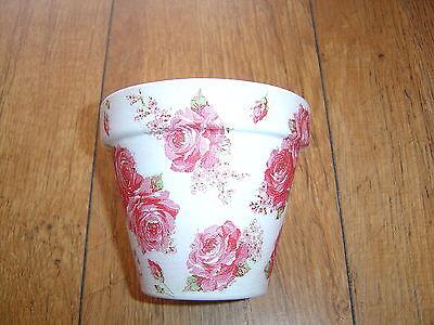 Classic Terra Cotta Pot - Hand Painted+Decoupaged Flower Pots11 cm(Terracotta )Cath Kidston Classic Rose 1