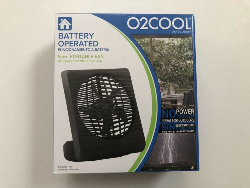 O2COOL Cool By Design Battery Operated 5 Inch Portable Fan Black FD05017