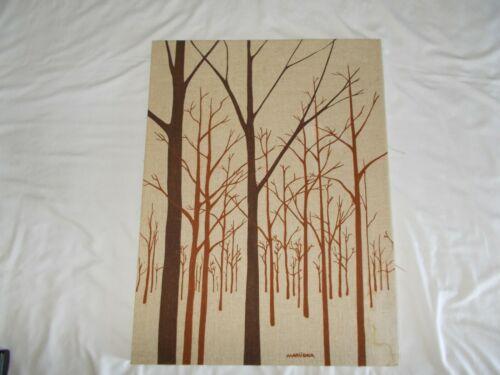 "Vintage MARUSHKA Tree Scene 18"" X 24"" Screen-print Canvas Brown Tan Retro"