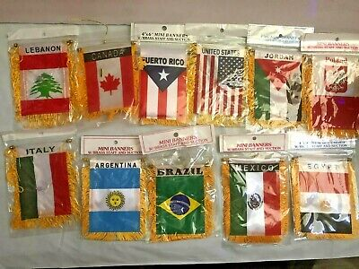 Country Flag Banners (MINI BANNERS   FLAG W/BRASS STAFF AND SUCTION  all)