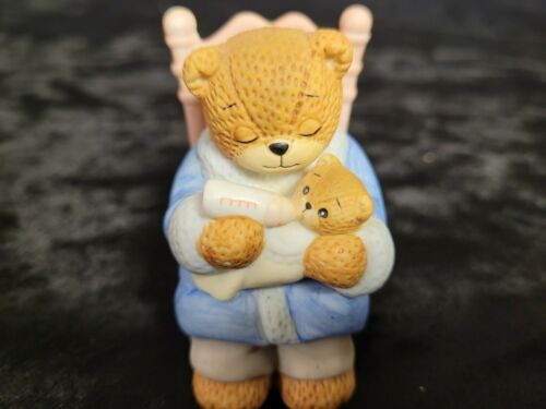 Lucy Rigg Lucy and Me Enesco Daddy Bear Feeding baby bear 1986