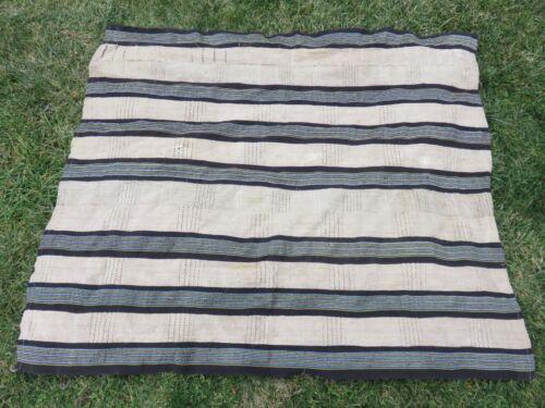 "Old ""Sanyan"" Style & Indigo Aso-Oke Strip Woven Robe Textile Nigeria Yoruba"