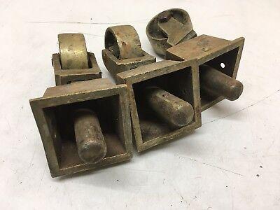 3 Salvaged  Vintage Cast Brass Castors Furniture Wheels  table chair