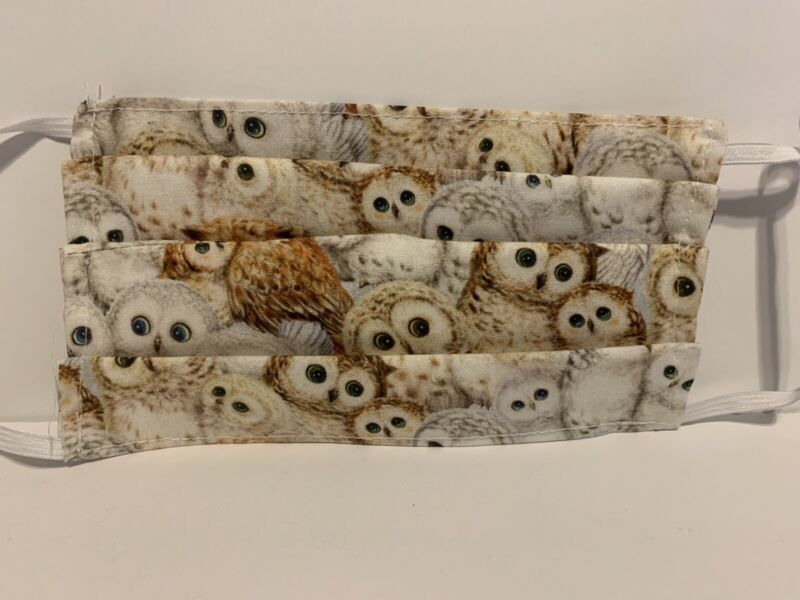 Owl Owls Face Mask, Handmade Cotton Reusable With Pocket For Filter