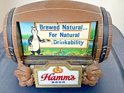 Vtg Hamm's Beer Barrel Lighted 8 Scene Flip Motion Adv. Sign Works, Bear, Canoe