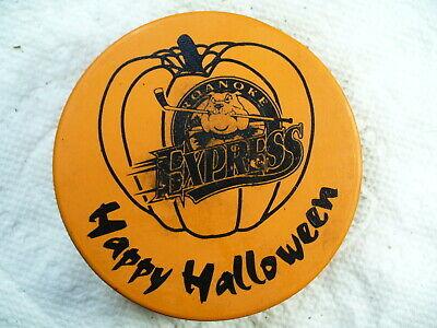 Halloween Express Logo (ECHL Roanoke Express Happy Halloween Logo Orange Slug Hockey Puck Collect)