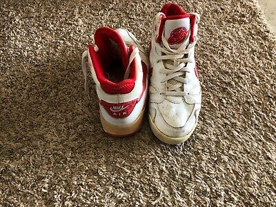 NIKE AIR JORDAN? HIGH TOPS BASKETBALL SHOES VINTAGE RED WHITE USED Size 9.5
