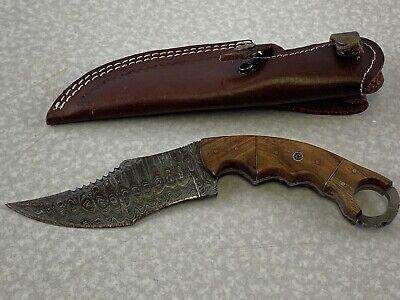 Best Buy Damascus1 Hand Forged Fixed Blade Hunting Knife Top Serrated Leather (Best Damascus Hunting Knives)