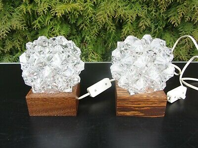 2 Nachttischlampen Glas DDR passend zu Kugel- Glas-Sputniklampen  (Passende Nachttische)