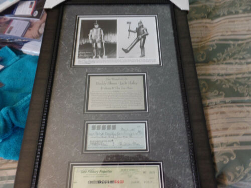 Wizard of Oz Tin Man Buddy Ebsen & Jack Haley autographed check 18x30  Framed