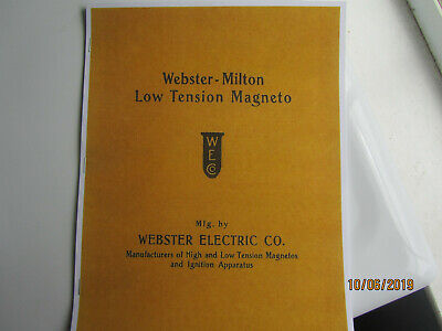 1910s Webster Flatbar Magneto Cataloginstruction Manual Engine Pics Mag Types