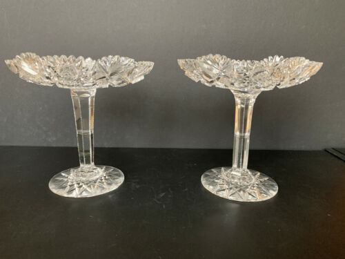 Pair of ABP Cut Glass Gorgeously Decorative Long-Stemmed Compotes