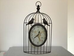 "Metal Bird Cage 18.5"" Clock Decor - Wall Hanging or Free Standing!  (#IB-L)"